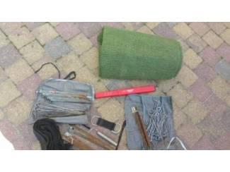 Veel overcompleet kampeer spul Groen rubber kleed 4x2 meter(zitte